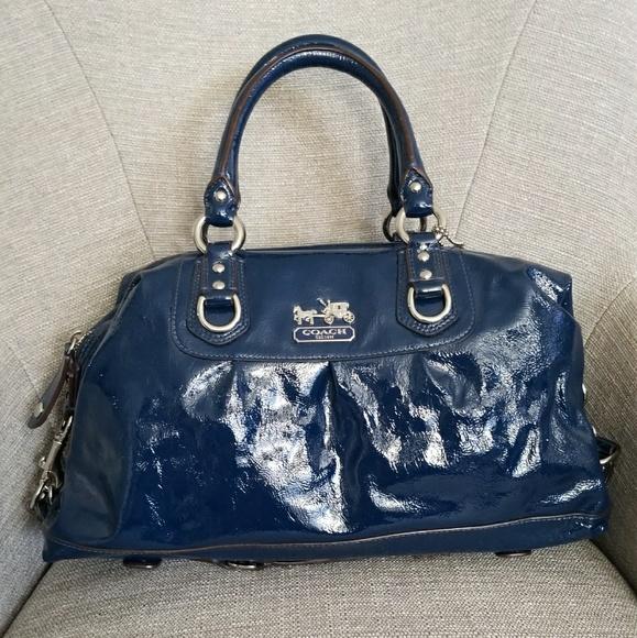 60251bf514 Coach Handbags - Patent Leather Navy Blue Coach Purse